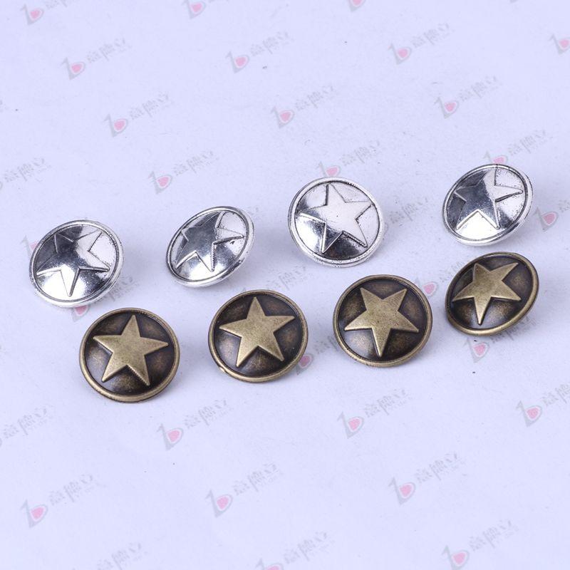 botón de estrella antigua pendiente de plata / bronce ajuste collar 15 * 15mm joyería DIY zinc aleación / porción 3390z