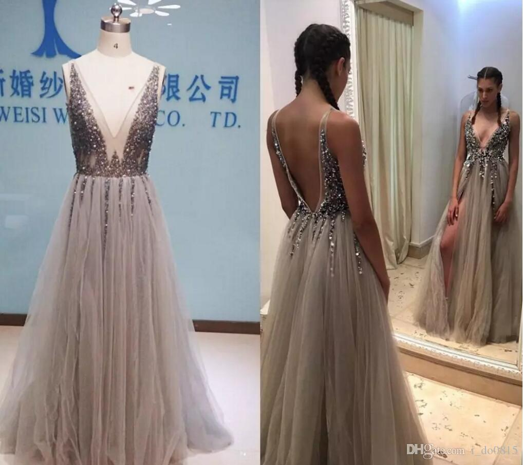 2017 Paolo Sebastian Evening Dresses,Real Image Deep V Neck Tulle ...
