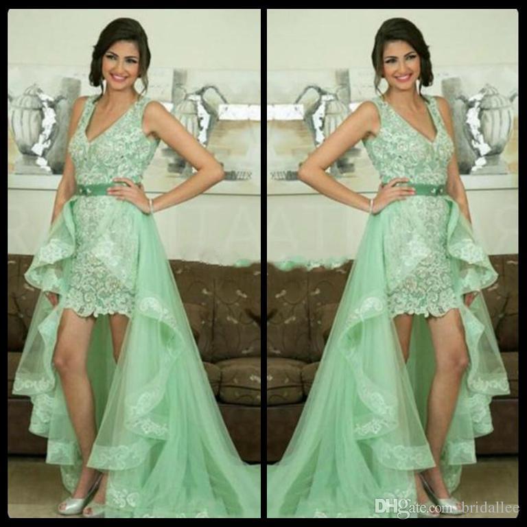 552c1412cb Sexy Green Prom Dresses With Detachable Skirt Charming Mint Lace Short  Front Long Back Party Gown Dresses Vestido De Baile Halter Top Prom Dresses  Hi Low ...