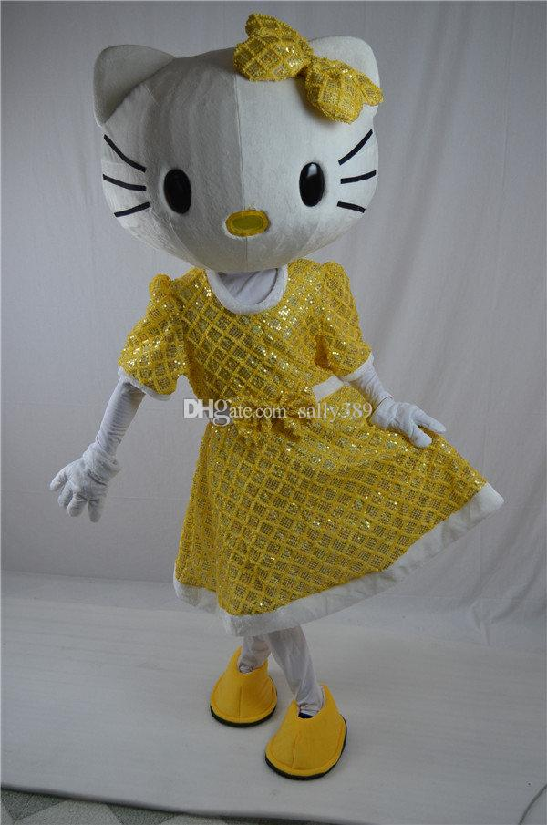 Hotsale Mascot Costume Adult Size Hig Quality GOLD Love sweet Hello Kitty Cartoon Character Costumes Fancy Dress Suit