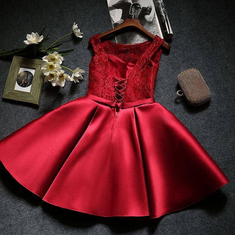 Burgunder kurze Spitze Satin Cocktailkleider mit Schleife New Lace Up Back Party Dress Elegant