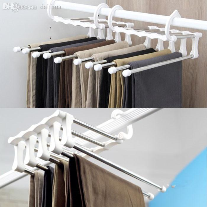 2017 Wholesale Ties Scarf Shawl Retractable Rack Hanger Multi 5 In 1 Space  Saving Stainless Steel Multifunction Pants Rack Trouser Hanger From  Dalihua, ...