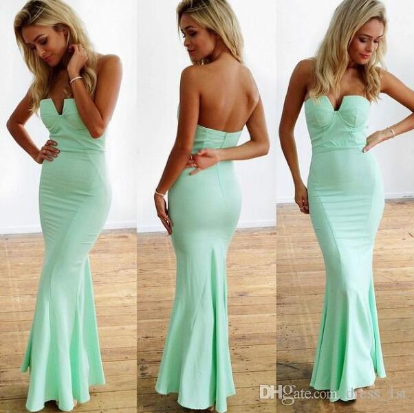 Modest 2017 Mint Green Mermaid Bridesmaid Dresses Long Cheap Sweetheart Ankle Length Maid Of Honor Wedding Guest Dress Custom Made EN11218