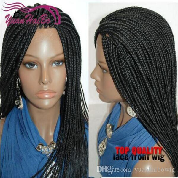 Synthetic Black Braiding Hair Lace Front Wigs Full Hand Braided