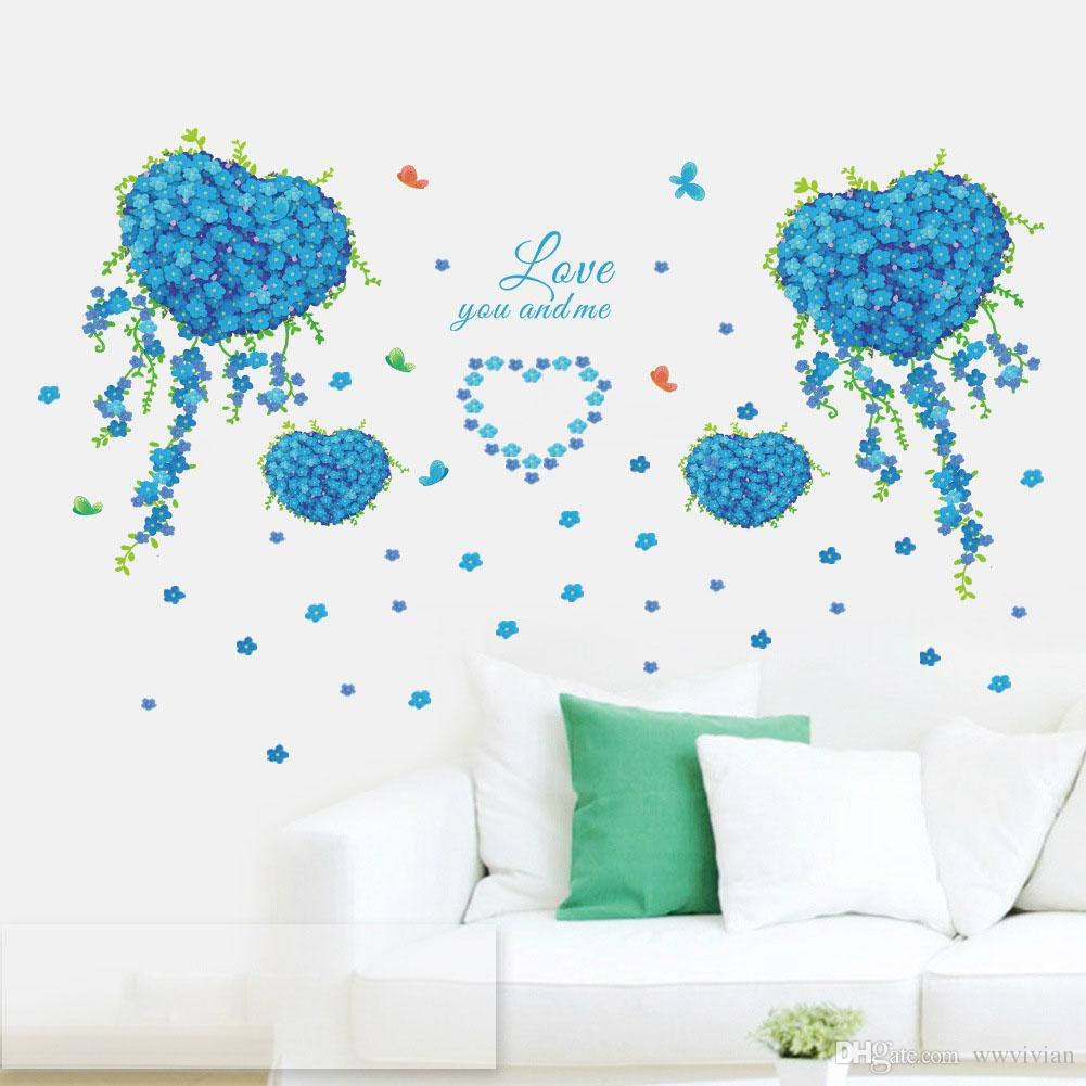 Blue Clover Butterfly Love Heart Shape Flowers Wall Stickers Living Room Bedroom Wall Mural Poster Love you and Me Wall Quote Decal Graphic