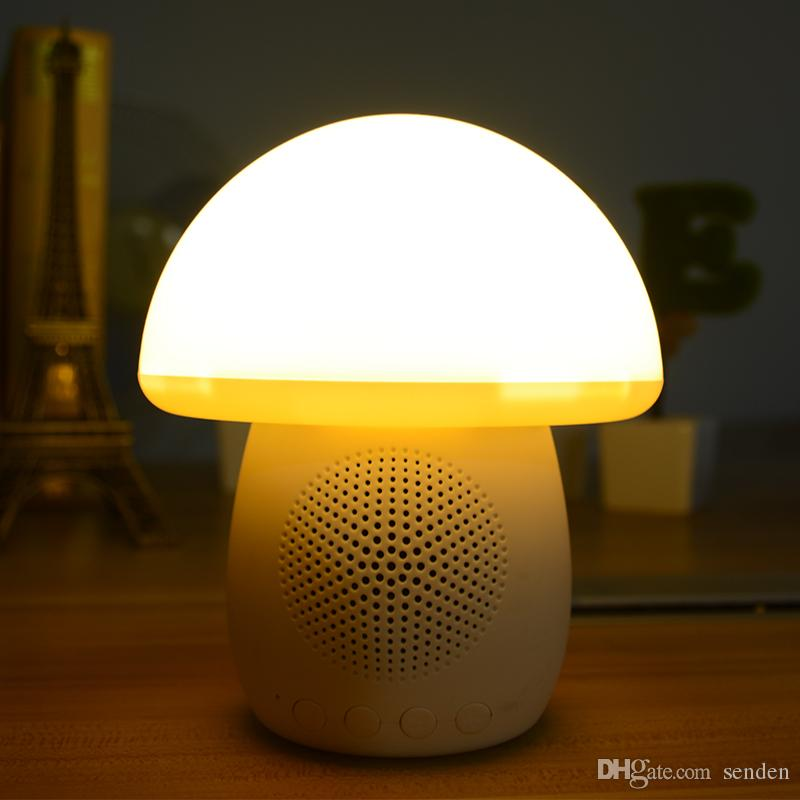 Smart Mushroom Touch Light Bluetooth Haut-parleur T6 avec lampe d'ambiance multicolore, jeu de carte TF