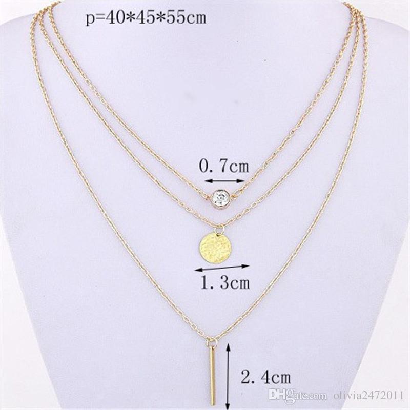 Hot Fashion Gold Überzogene Stab Runder Kreis Mix Anhänger 3 Schicht Kette Chokers Halsketten Anhänger Schmuck Hz
