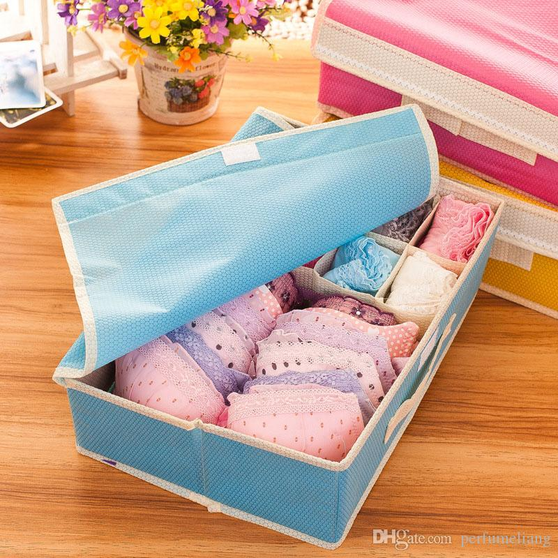Składane 9 Grid 16 Sieciowa Pudełko do przechowywania biustonosza Skarpety BRA Bezpolone Tkaniny Narzędzie Organizator Gospodarstwa Domowego Za4864