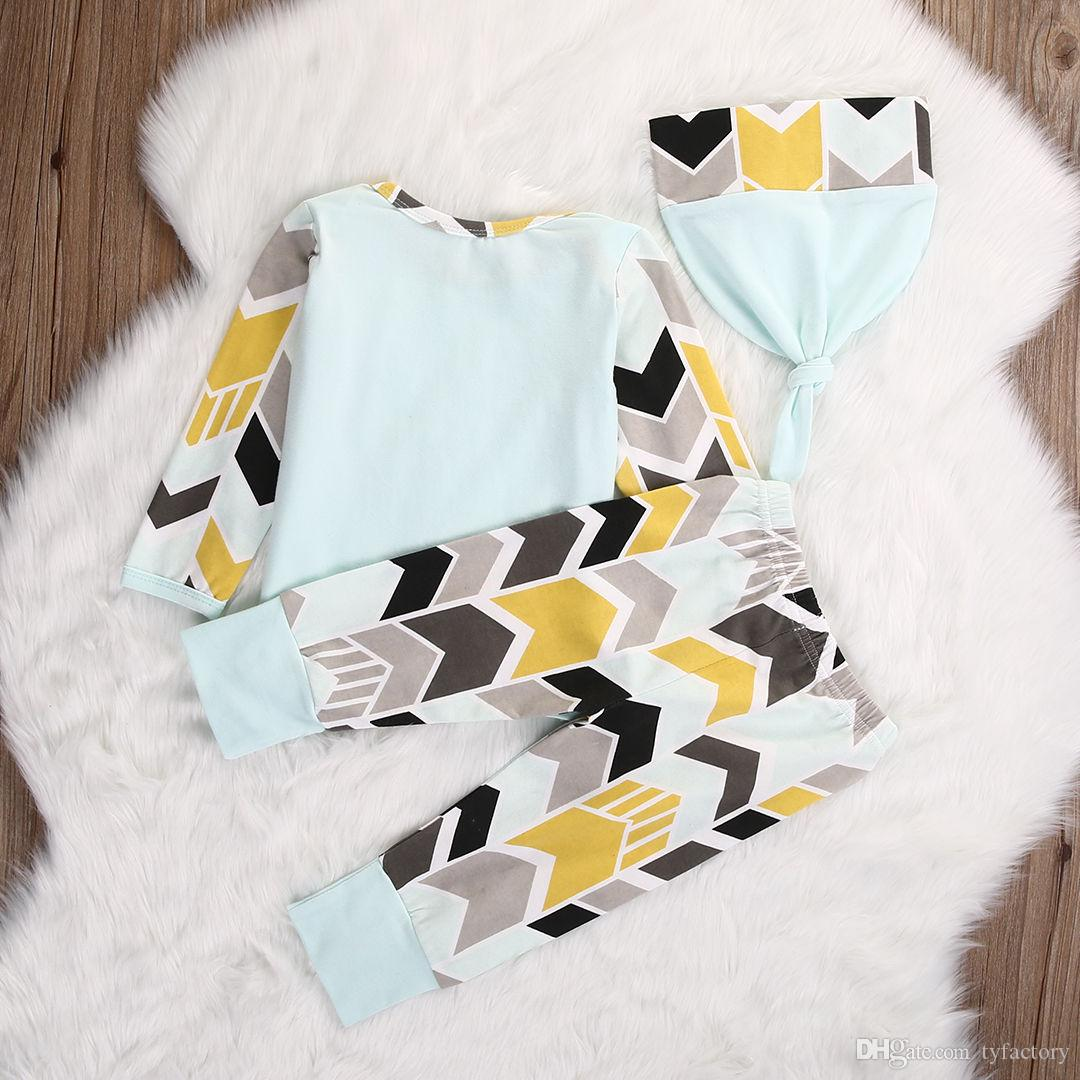 2016 new arrival baby suits Newborn Infant children Girl Boy long sleeve striped Tops T-shirt+Pants+Hat Outfits fashion Set top Clothes