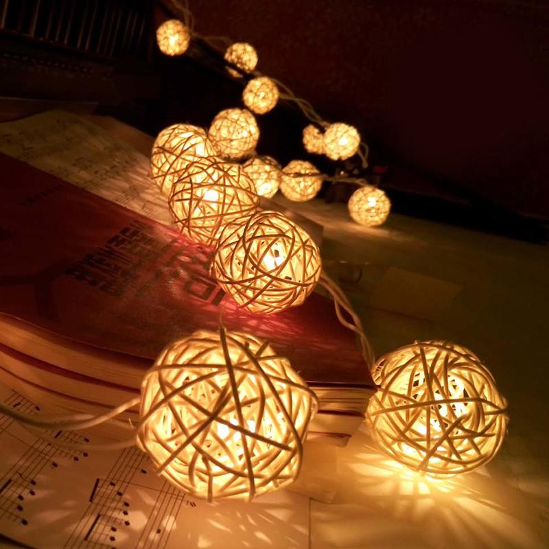 따뜻한 화이트 등나무 공 문자열 요정 조명 20 크리스마스 파티 크리스마스 할로윈 홈 Decoraction에 대 한 LED