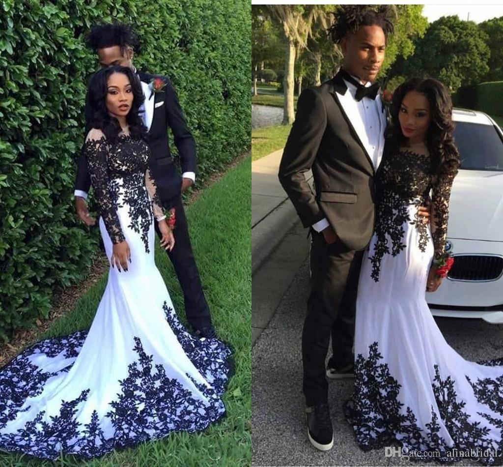 2018 Elegant Long Sleeves Mermaid Evening Dresses Vestidos De Noiva African Sheer Neck Black Lace Appliques Formal Prom Party Gowns
