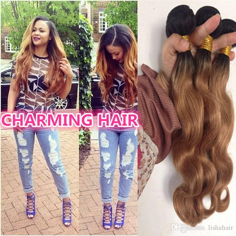 Cheap 2 tone dark root colored 1b 27 ombre virgin hair brazilian cheap 2 tone dark root colored 1b 27 ombre virgin hair brazilian body wave human hair extensions dark root honey blonde ombre hair weft extension pmusecretfo Gallery