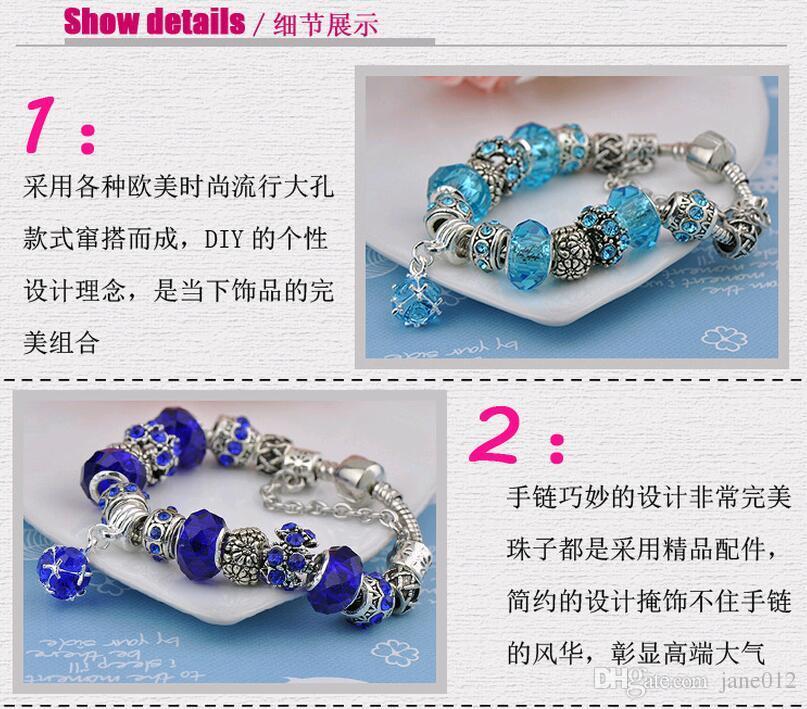 Nuevo estilo europeo encantos de la pulsera del grano diy plateado pulseras de la marca del vintage azul púrpura longitud 17mm 18mm-20mm venta al por mayor