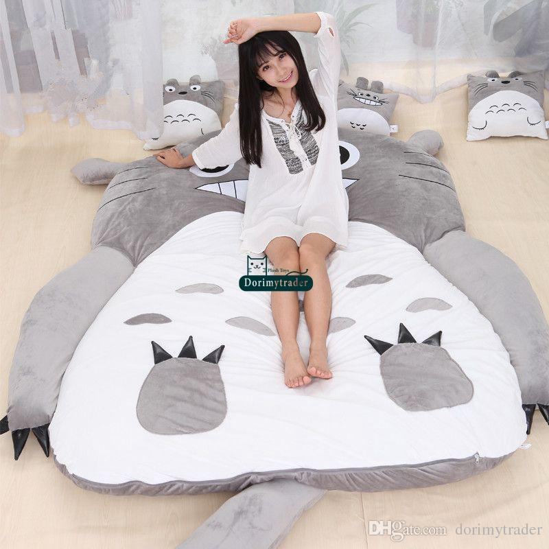 Dorimytrader Hot Japanese Anime Totoro Sleeping Bag Big Plush Soft Carpet Mattress Bed Sofa with Cotton DY61067