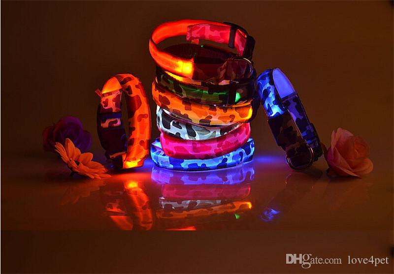 D10 New Pet Dog Collar Pet nylon Camo Light collar collar LED flash luminous collars