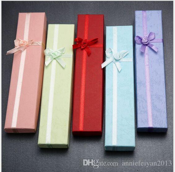 Taille 4 * 21cm / Papier dur Bijoux Collier Bijoux Boîtes d'emballage Emballage / Paquet / Affichage Affichage Affichage Box Box Bins avec Bowknot