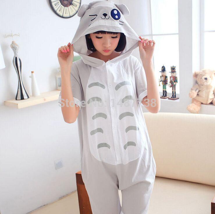 Totoro Animal Onesie Pigiama Unisex Adulto Estate Cotone Pigiama Manica corta Indumenti da notte le donne Uomini Pigiama Pigiama