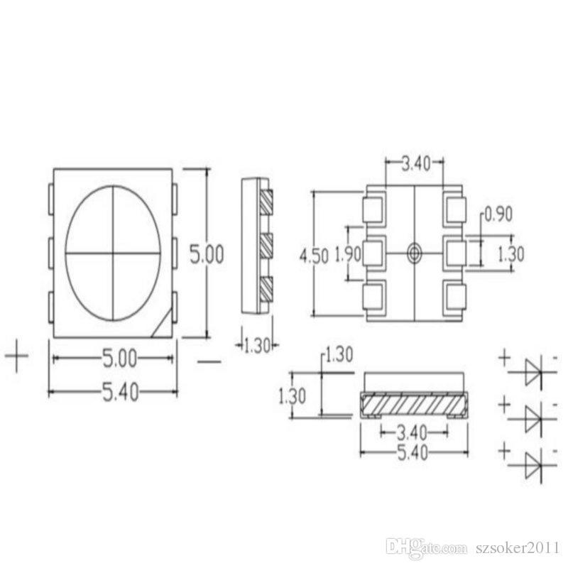 1500 pz 15-18LM rosso PLCC-6 5050 SMD 3-Chips Lampada lampada diodi ultra luminosa
