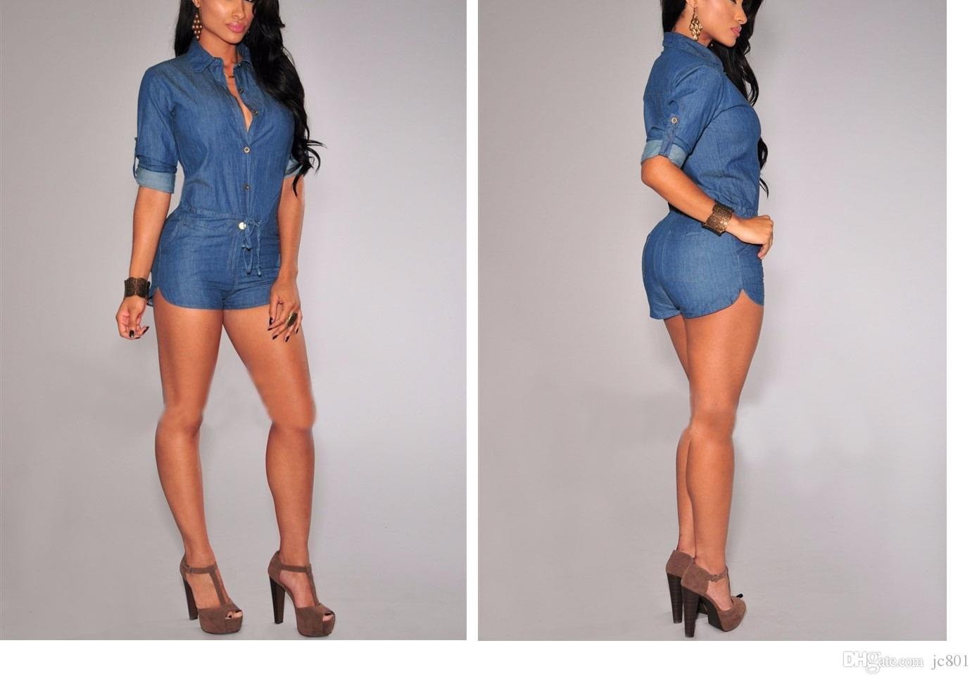 fc747cc027d85 2019 Plus Size Sexy Women Half Sleeve High Waist Denim Slim Mini Jeans  Jumpsuits Bodysuit Shorts Pants Romper Playsuit From Jc801, $55.49 |  DHgate.Com