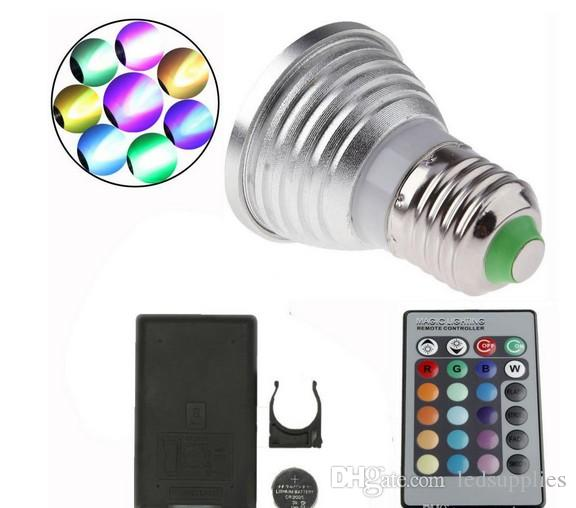 Ücretsiz kargo 3 W E14 RGB Yüksek Güç LED Spot + IR Uzaktan Kumanda Spot