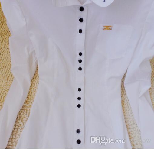 Las mujeres blancas de manga larga Body Blusa Puff Sleeve OL Slim Carrera Camisa Tops Ropa S / M / L / XL