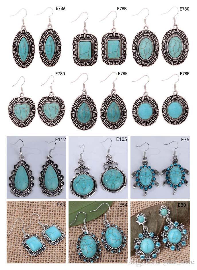 Damen DIY Tibetan Silber baumeln Türkis 12 Stücke viel Gemischt Stil, oval Herz Europäische Perlen Ohrring GTTQE10