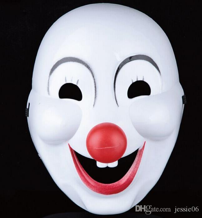 Halloween Hite Clown Red Nose mask Funny Fancy Dress Party Jester Jolly Mask PVC Masquerade Mask Carnival Masks white festive supplies props