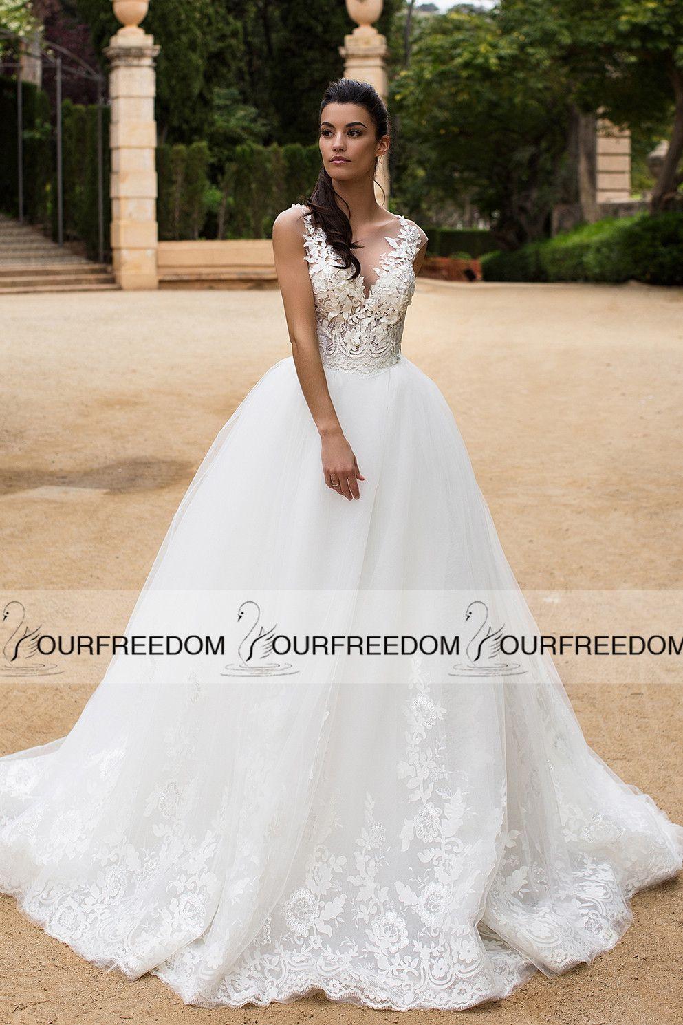 2020 Sheer Jewel Ausschnitt A Line Brautkleider rückseitige Abdeckung Knopf Hofzug Brautkleid Land-Art Günstige Boho Brautkleid Hot