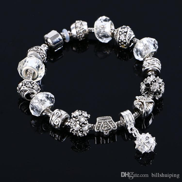 Горячие продажи новая мода высокое качество подвески браслеты Кристалл Шарм бусины подходит ювелирные изделия браслеты бесплатная доставка