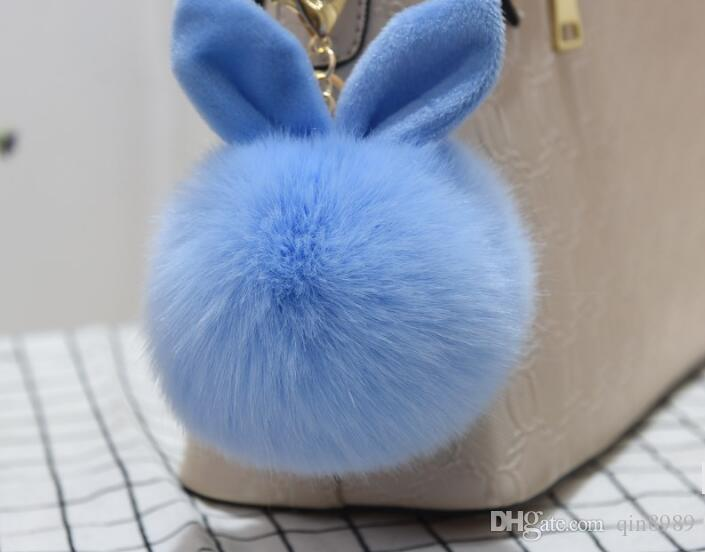 2017 Multicolor Faux Fox Fur Pompom Keychain Fluffy Rabbit Ear Ball Key Chain Keyring Bag Charms Pendant Bunny Accessories