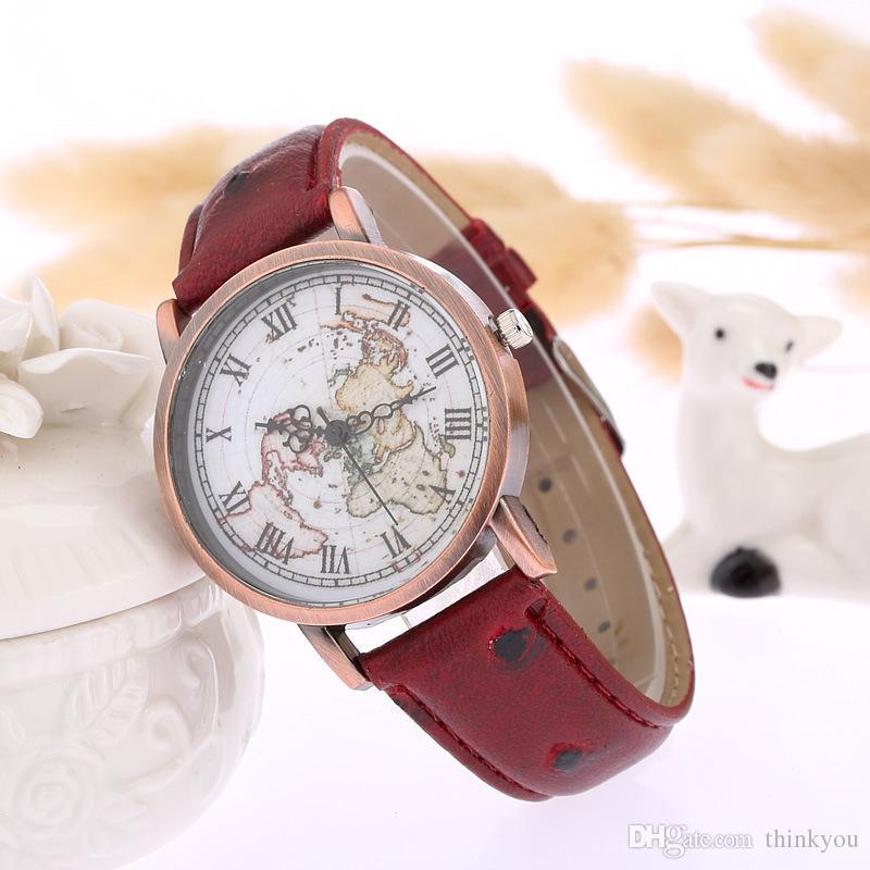 Mode Frau Herrenuhr Weltkarte Muster Quarz Sportuhr Faux Leder PU Band Runde Zifferblatt Casual Uhr für Mann Frauen