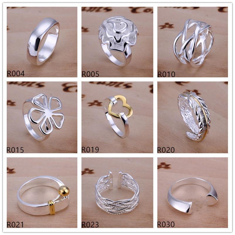 Marke neuer hochgradiger Silberring 10 Stück Mischartauftrag, 925 silberner Ring GTR2 Verkauf der Fabrik