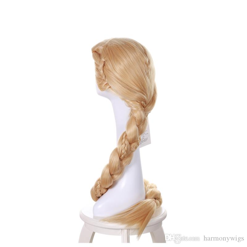 Princess Rapunzel Wig Long Blonde 3X Braid Ponytails Cosplay Costume Party Wig 140CM synthetic hair wigs