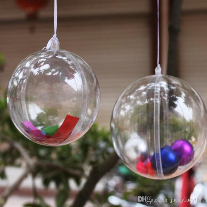 cm classic transparent plastic christmas balls fashion wedding favor candy box round balls for festive party supplies indoor christmas decorations large - Large Plastic Christmas Decorations