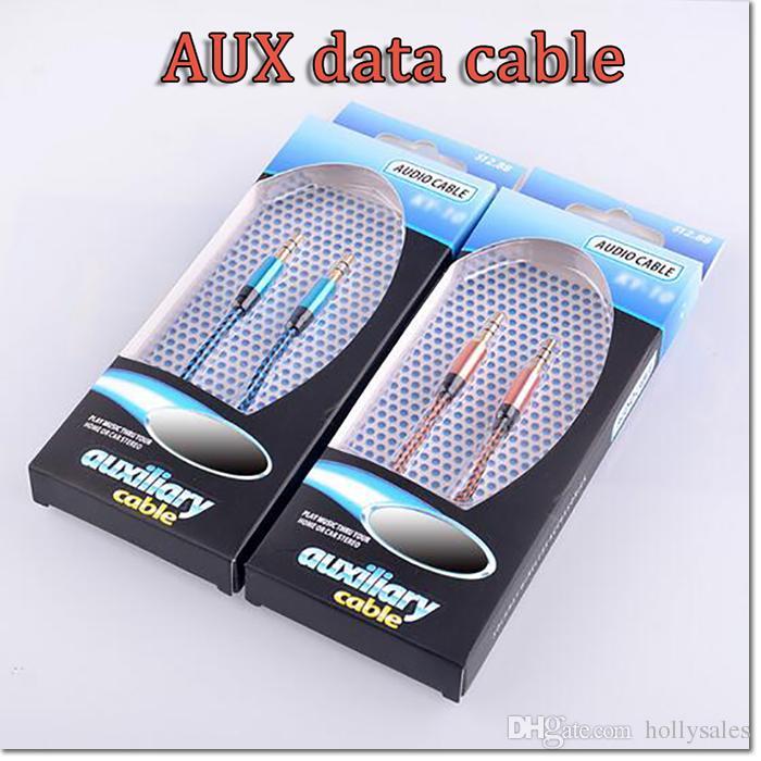 3FT 3.5MM الألومنيوم الصوت AUX سيارة ارشادية كابل مزين كابل سلك مساعد ستيريو ذكر لذكر عن الهاتف المحمول والكمبيوتر اللوحي