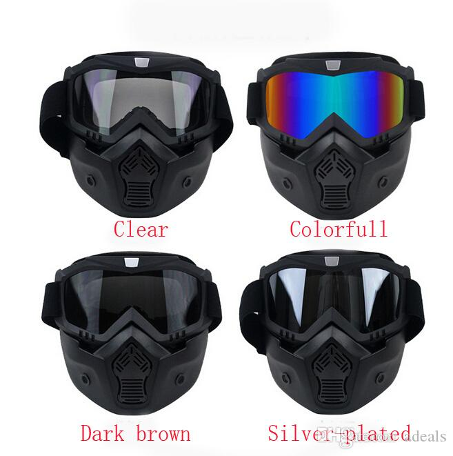2016 New motocross Motorcycle helmet Mask Detachable Goggles And Mouth Filter Perfect for Open Face Motorcycle Half Helmet Vintage Helmets