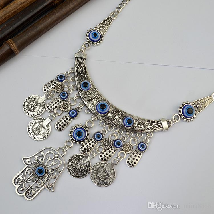 Pièce de monnaie Vintage Chaîne Tassel Fatima Hamsa Main Pendentifs Collier Chance Main Turquoise Palm beau Collier collares DHN102