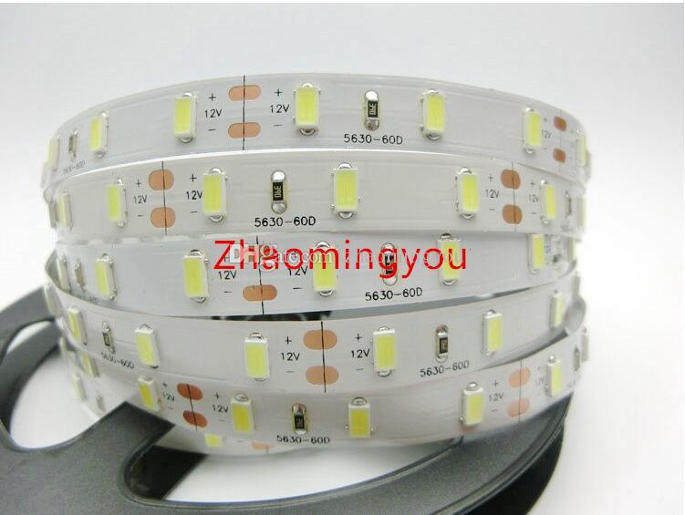 Envío gratuito de alta potencia 5630 SMD LED tira luz flexible DC 12V No impermeable 60LED / m 5m /