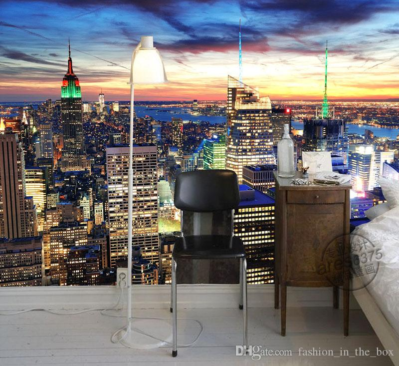 New York City Night Photo Wallpaper Modern Wall Mural Custom 3d Wallpaper  Kid Bedroom Hotel Wallpaper Tv Background Wall Covering Room Decor 3d  Desktop ... Part 48