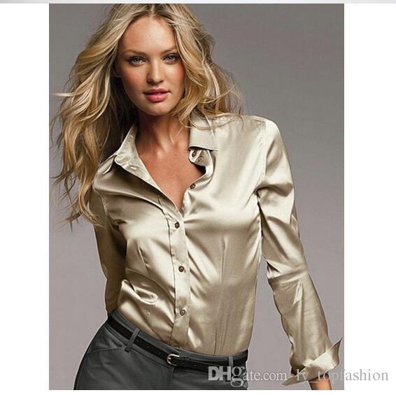 c306a9a494 Compre S XXXL Mulheres Cetim Blusa De Seda Botão Senhoras Blusas De Cetim  De Seda Camisa Casual Branco Preto Ouro Vermelho Manga Longa Blusa De Cetim  Blusa.