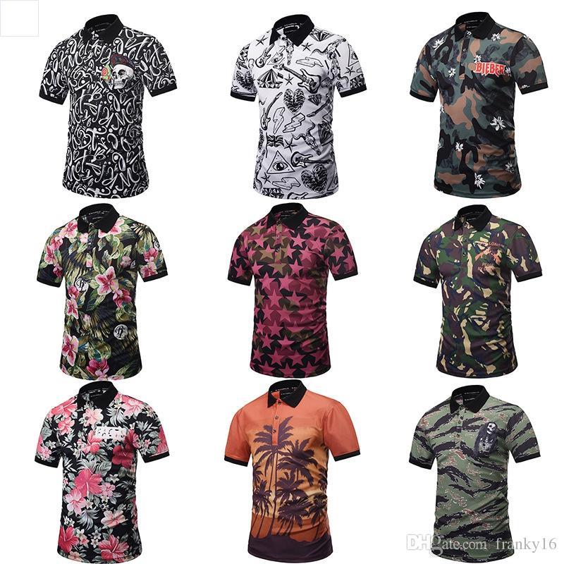 e2c24bde8d2e 2019 European American Style Men 3D Digital Printing Camouflage Flowers Polo  Short Sleeve Shirt Lapel Male Sport T Shirt From Franky16