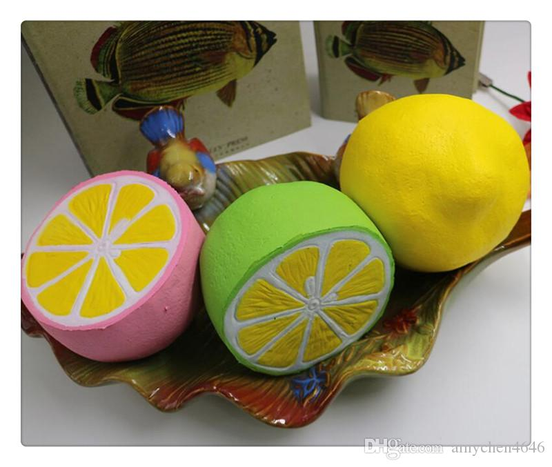 Wholesale DHL squishies rare squishy jumpo kawaii fruit lemon slow rising with package scented squeeze toy kids gift