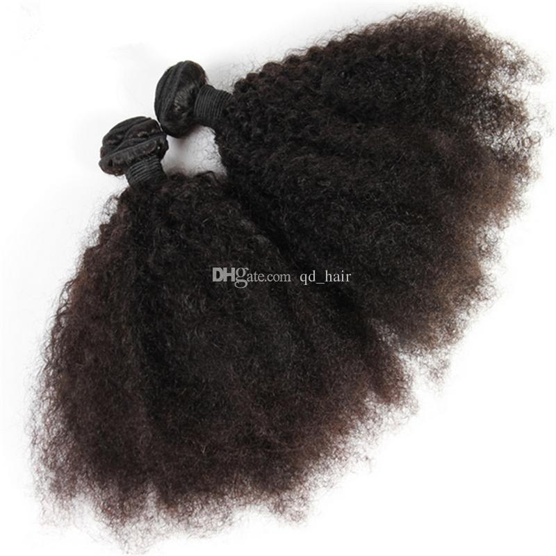 Brazilian 9A Afro Kinky Curly Human Hair Weaves With Lace Closure Kinky Curly Lace Closure With Hair Extensions For Black Woman
