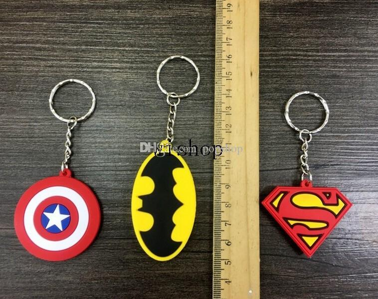 New Mix Cartoon Superhero Batman Superman Captain America Logo Pvc Key Chains Pendant Children Toy Gifts Party Favors