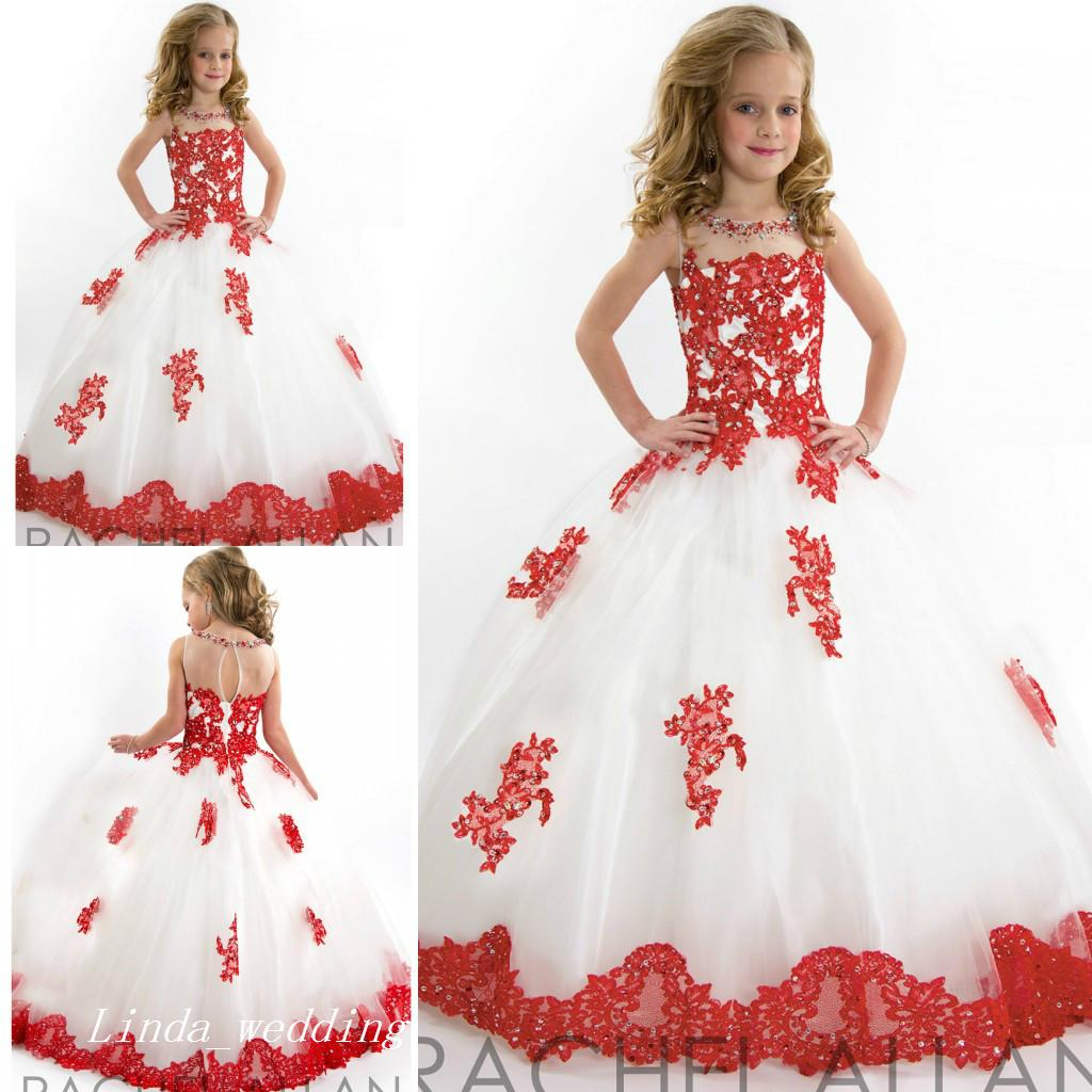 a414a3811 Cute White and Red Girl's Pageant Dress Princess Ball Gown Tulle Party  Cupcake Pretty Little Kids Queen Flower Girl Dress