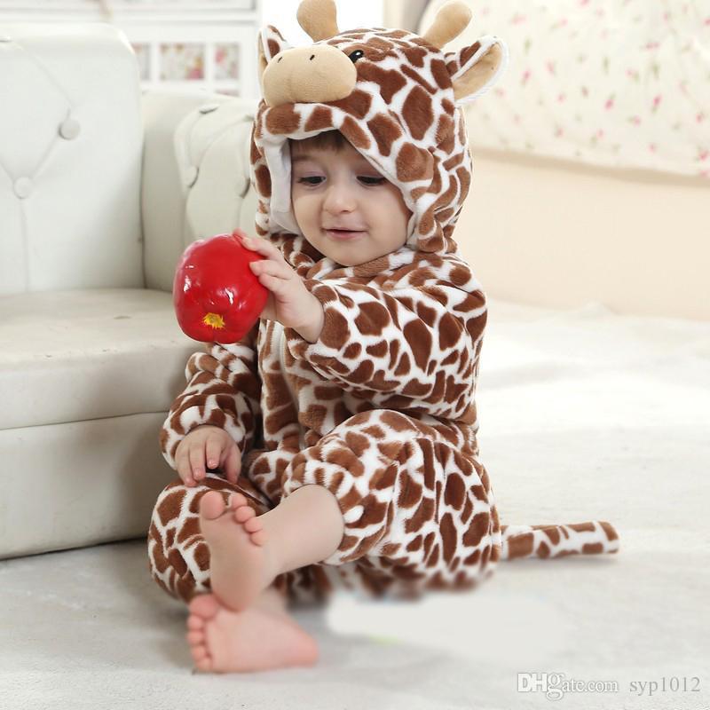 2019 Ano Novo Romper Recém-nascido Traje Do Bebê Com Capuz de Flanela Infantil Romper Criança Jumpsuit Roupas Menino Da Menina Do Bebê Animal Romper Terno