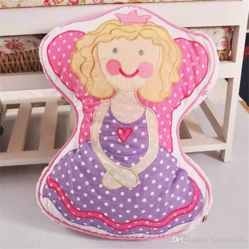 Forma princesa dulce del ángel algodón acolchado Almohada bordada coche Inicio Sofá Silla hecha a mano del amortiguador de la decoración del dormitorio de las muchachas