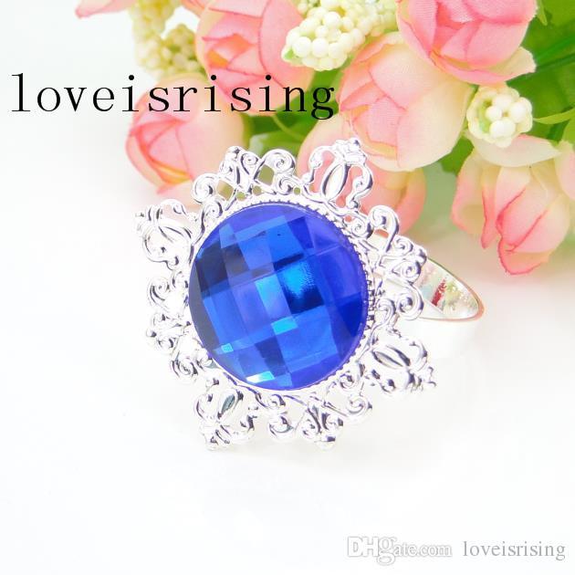 Wholesale--for U Pick-- Clear White Gem Diamond Napkin Ring Serviette Holder Wedding Dinner Bridal Shower Favor Decor