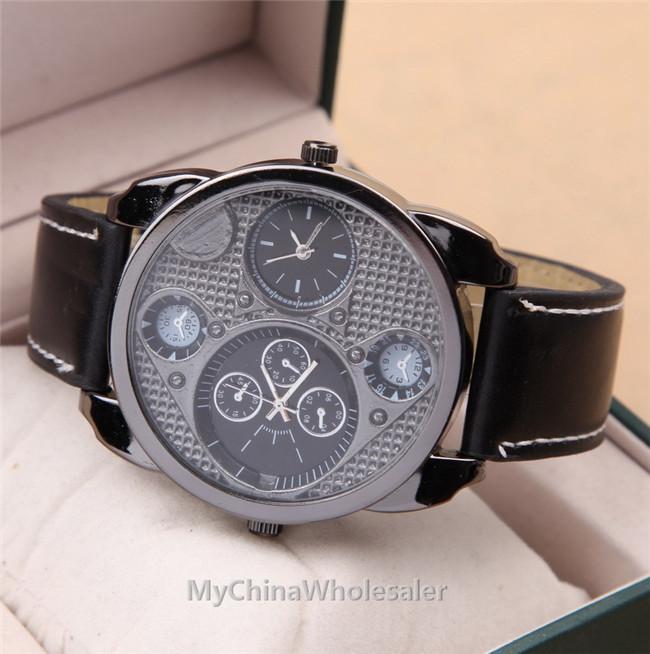 더 많은 다이얼 시계 남자 시계 럭셔리 스포츠 남자 가죽 시계 패션 석영 손목 시계 디자인 고품질의 자동 시계 남성 시계 럭셔리
