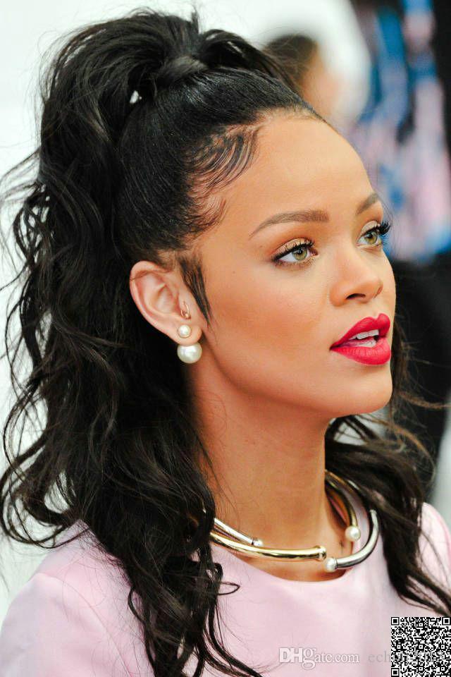 Rihanna Ponytails taglio di capelli neri vergine brasiliana umana involucro bagnato e capelli ondulati intorno Coda di cavallo clip nel onda allentata Hair Extension